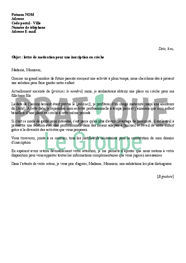 lettre de motivation pour inscription