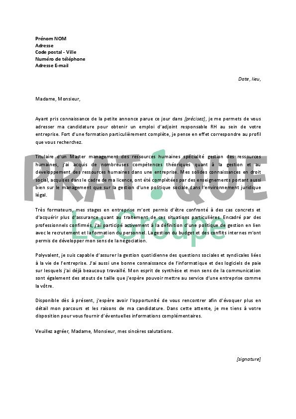 lettre de motivation responsable de formation