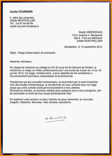 lettre de motivation stage d u0026 39 observation hopital