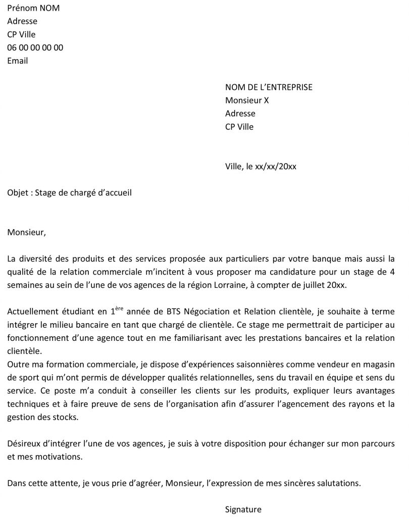 lettre de motivation stage bac pro sapat