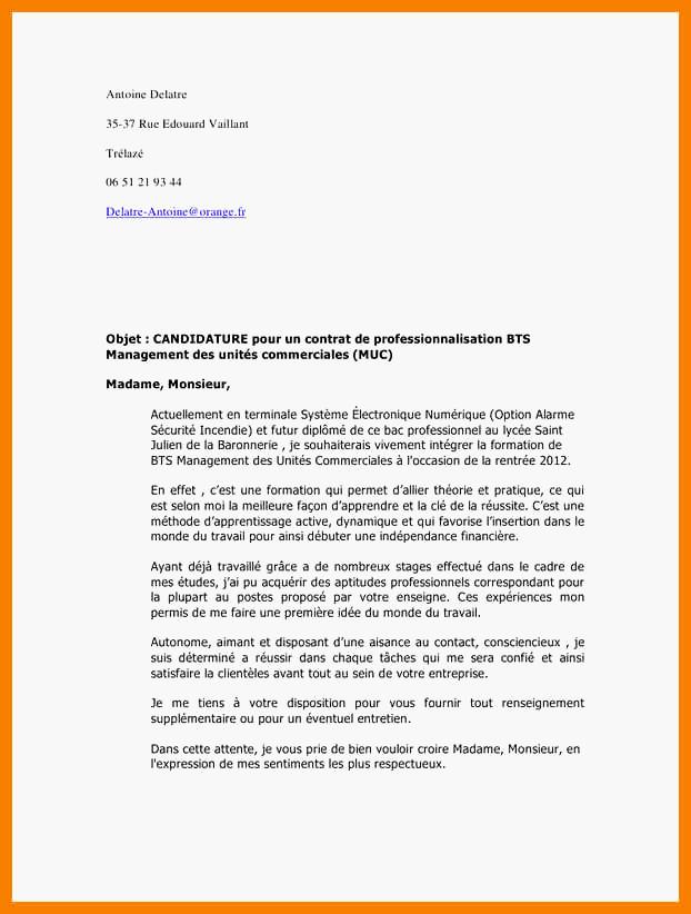 lettre de motivation stage bts electrotechnique