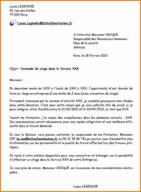 lettre de motivation stage seconde gestion administration