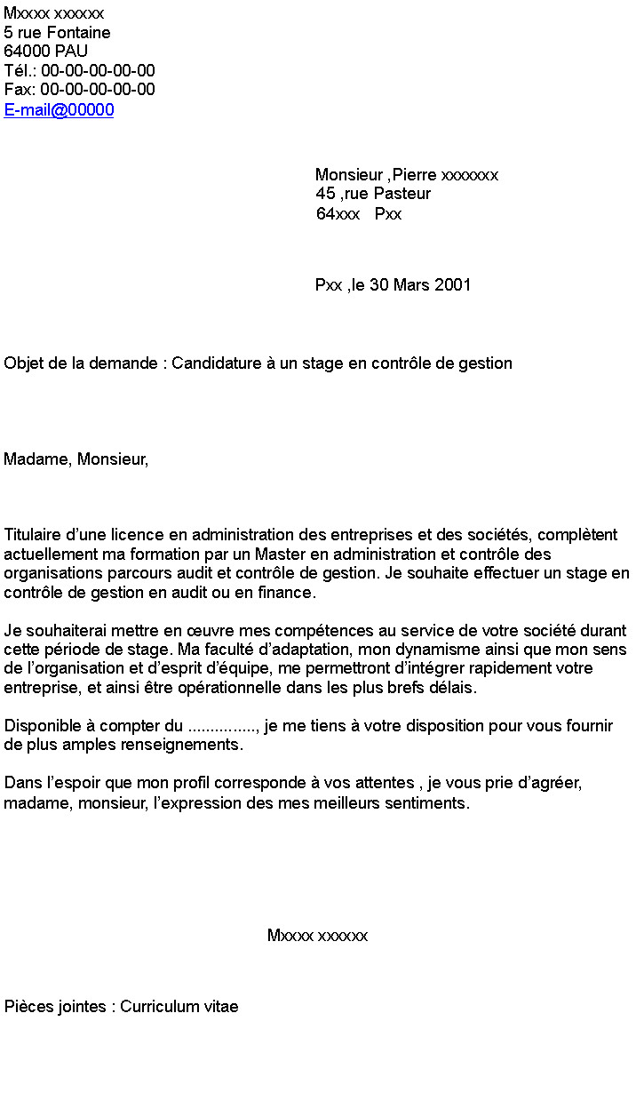 lettre de motivation controle de gestion alternance