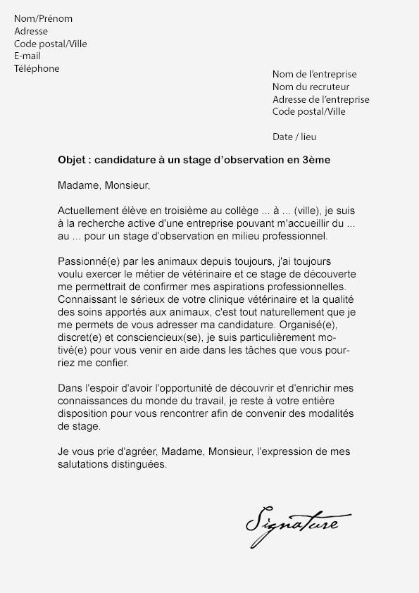 lettre de motivation stage modele