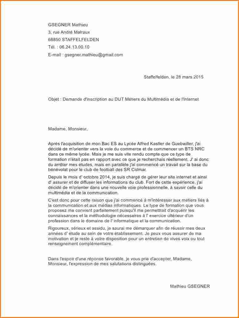 lettre de motivation iut chimie