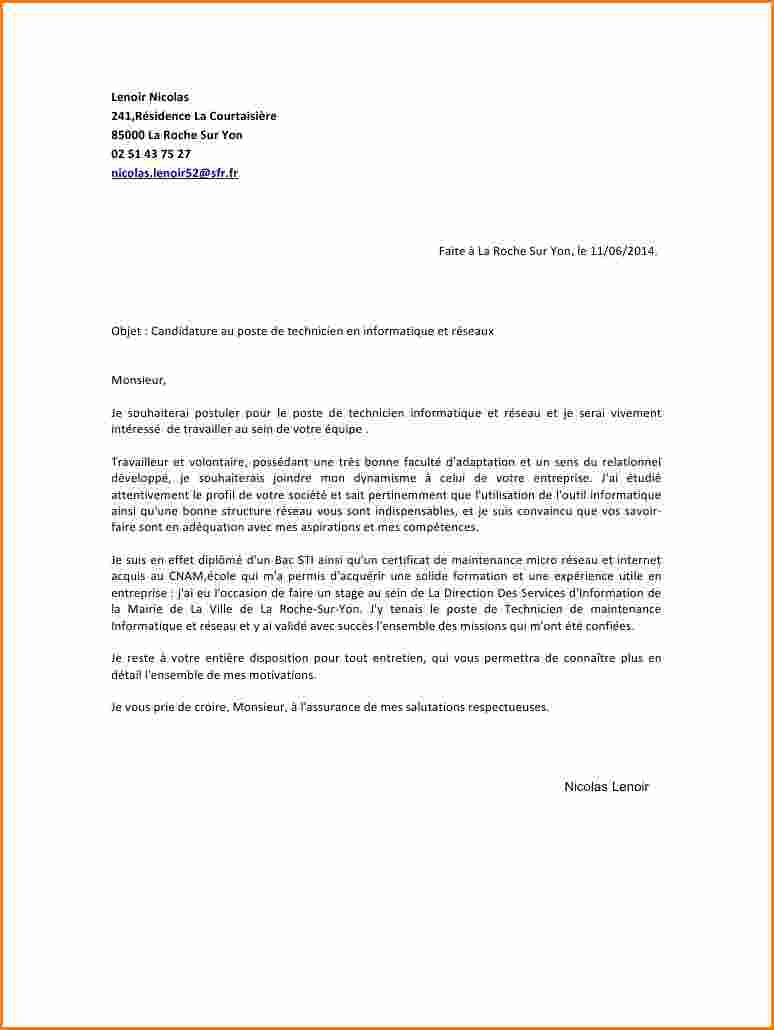 lettre de motivation stage technicien