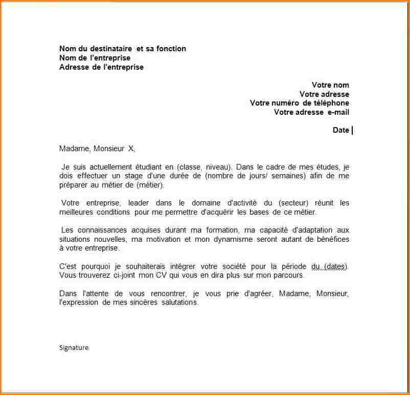 lettre de motivation stage d u00e9couverte entreprise