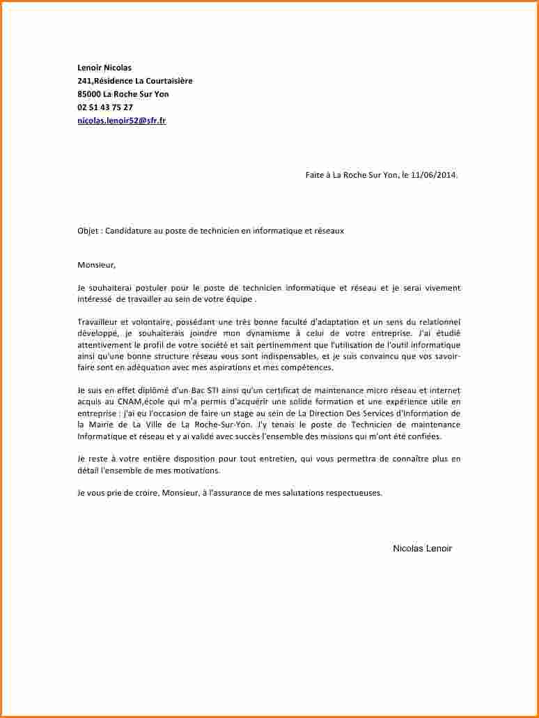 lettre de motivation technicien fibre optique d u00e9butant