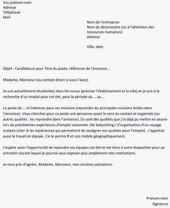 lettre de motivation job d  u00e9tudiant