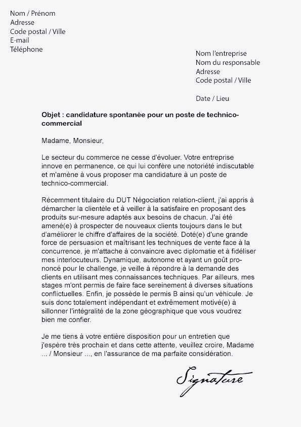 lettre de motivation type pour candidature spontan u00e9e