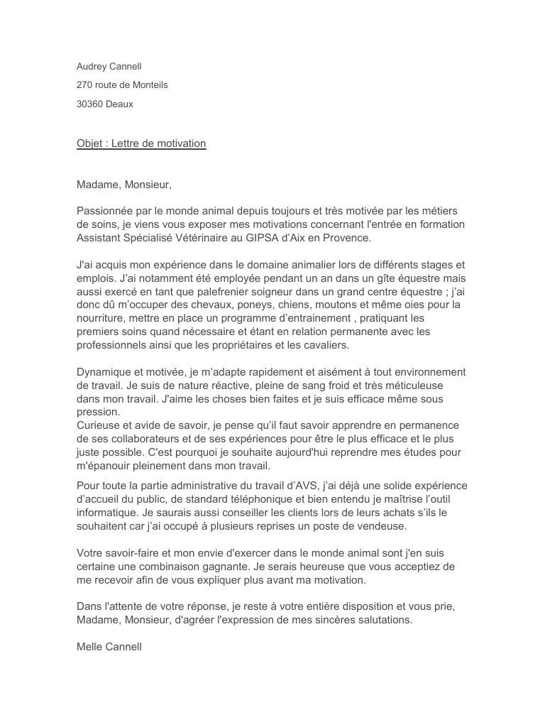 lettre de motivation stage soigneur animalier