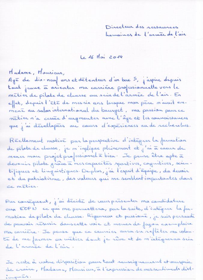 lettre de motivation pour l arm u00e9e de l air