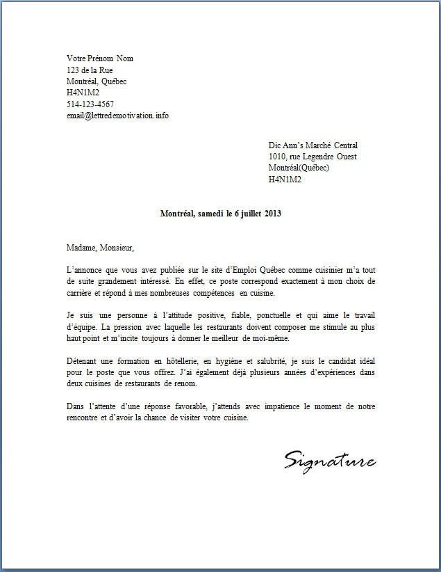 lettre de motivation demandeur d u0026 39 emploi