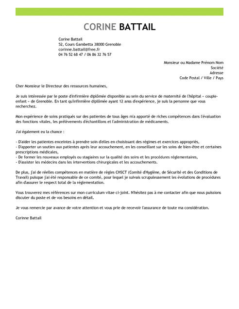 lettre de motivation jeune diplom u00e9 infirmier