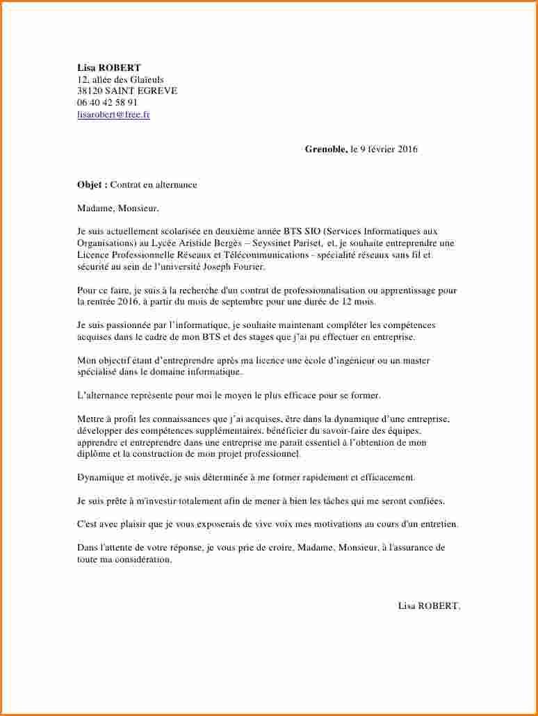 lettre de motivation entreprise alternance licence pro