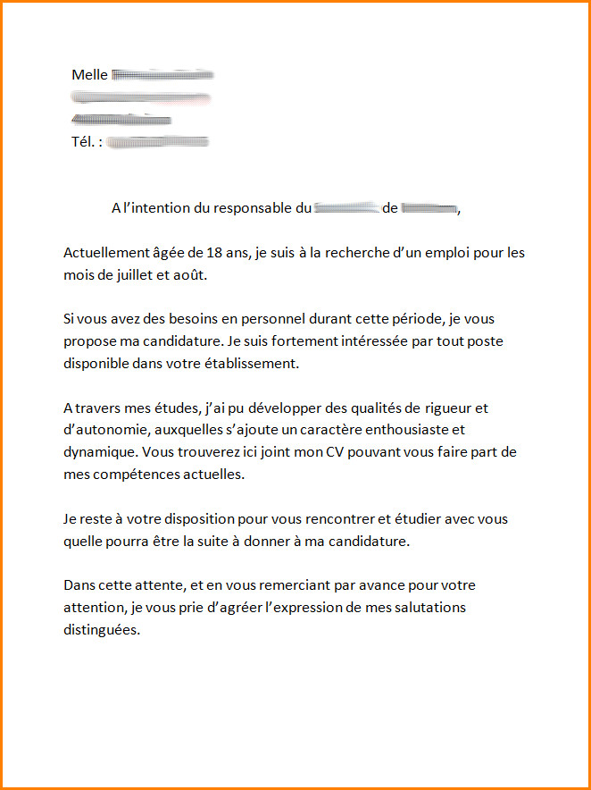 exemple de lettre de motivation mcdo