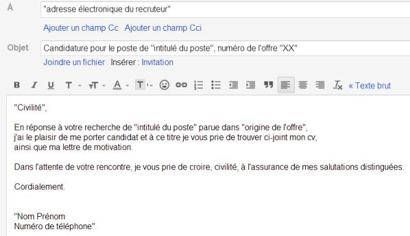 Exemple de mail d'accompagnement cv - laboite-cv.fr