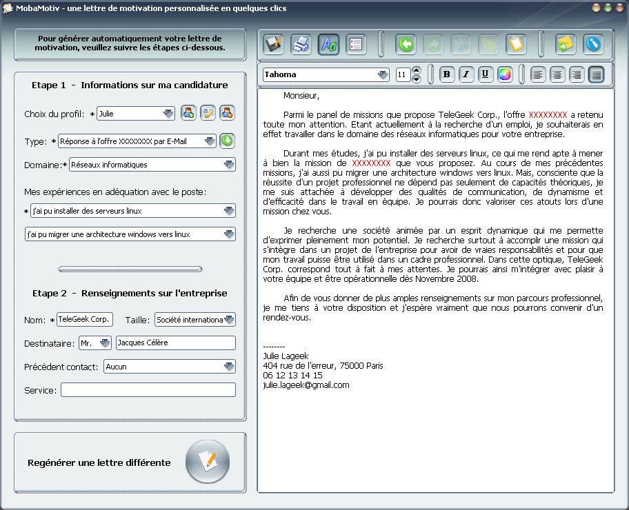 lettre de motivation par email