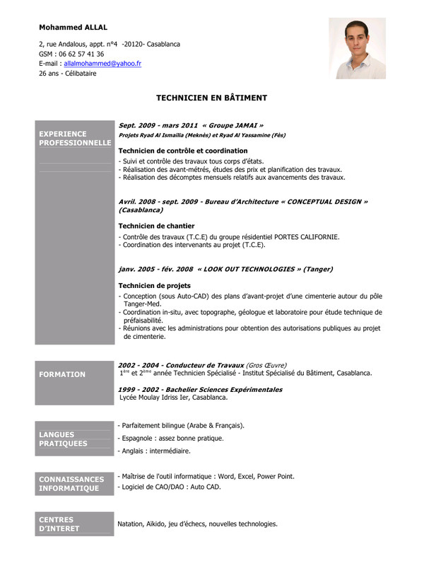 exemple de cv conducteur de travaux