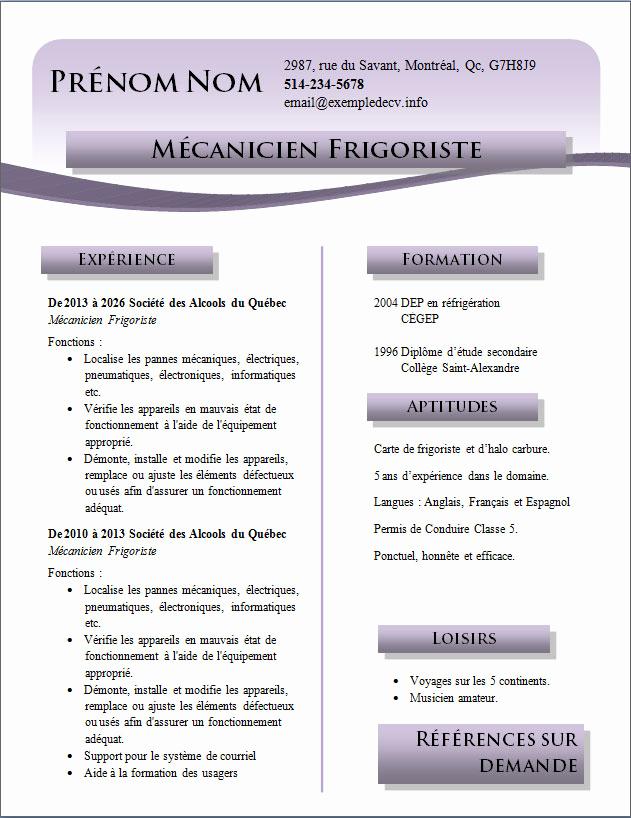 Exemple de cv quebecois gratuit - laboite-cv.fr