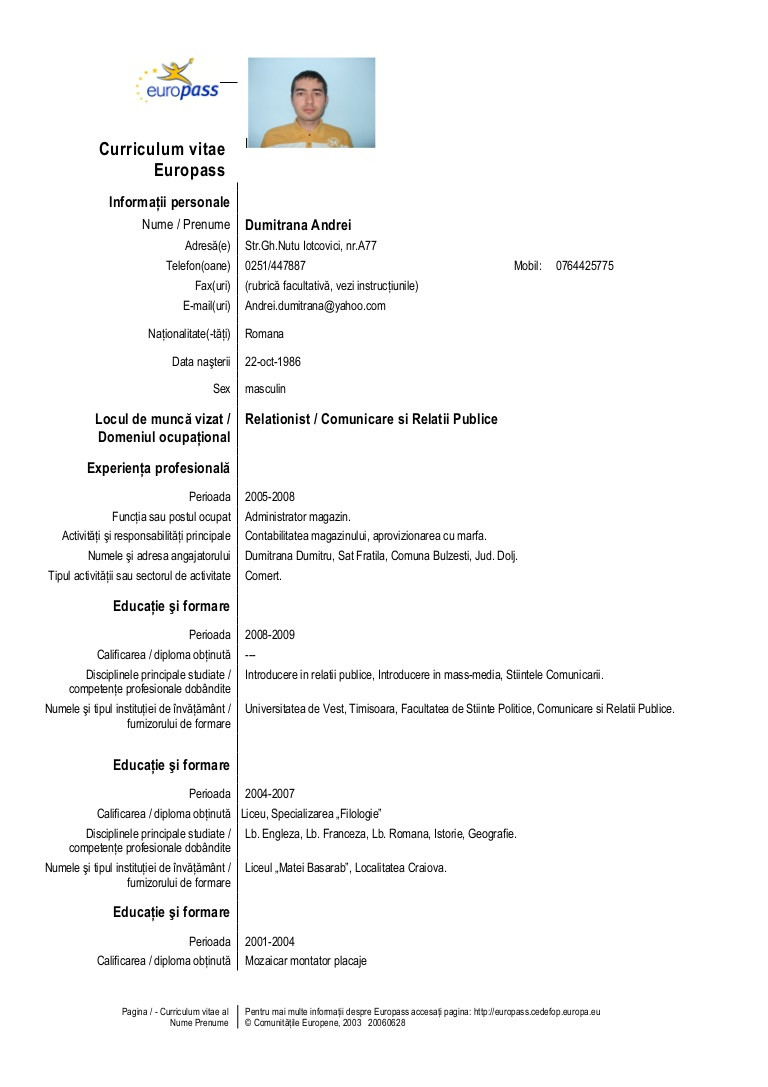 cv europass competente de comunicare exemple