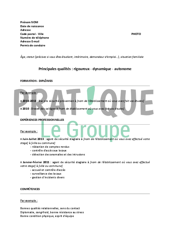 Exemple cv agent de securite - laboite-cv.fr