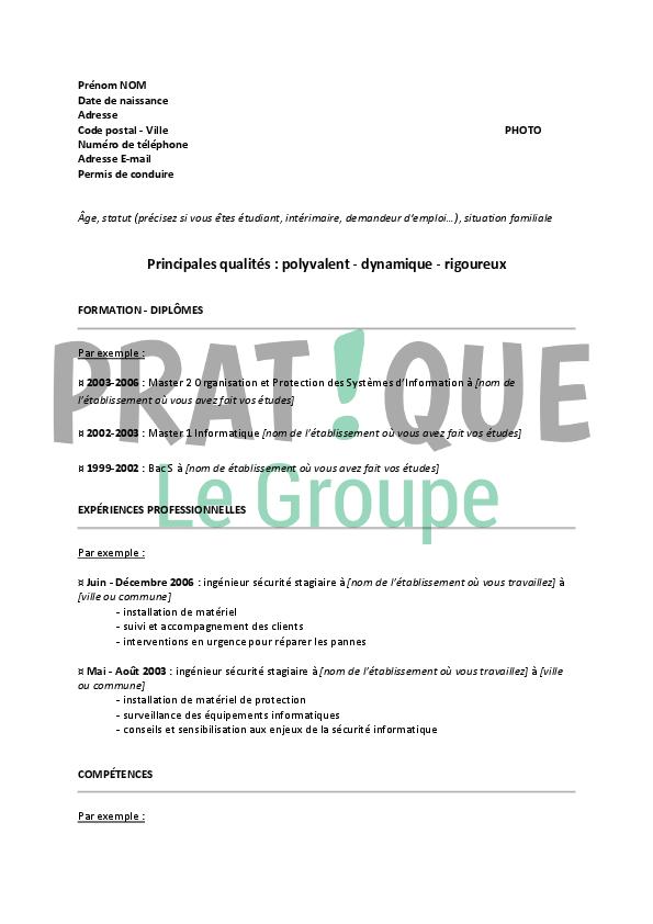 Exemple de cv sécurité informatique - laboite-cv.fr