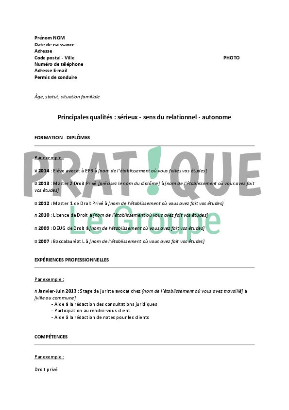 exemple de cv avocat