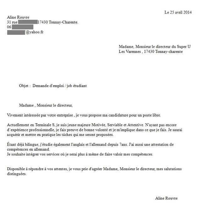 Lettre De Motivation Gratuite Agent D Exploitation Des: Exemple De Lettre De Motivation Pour Un Job étudiant