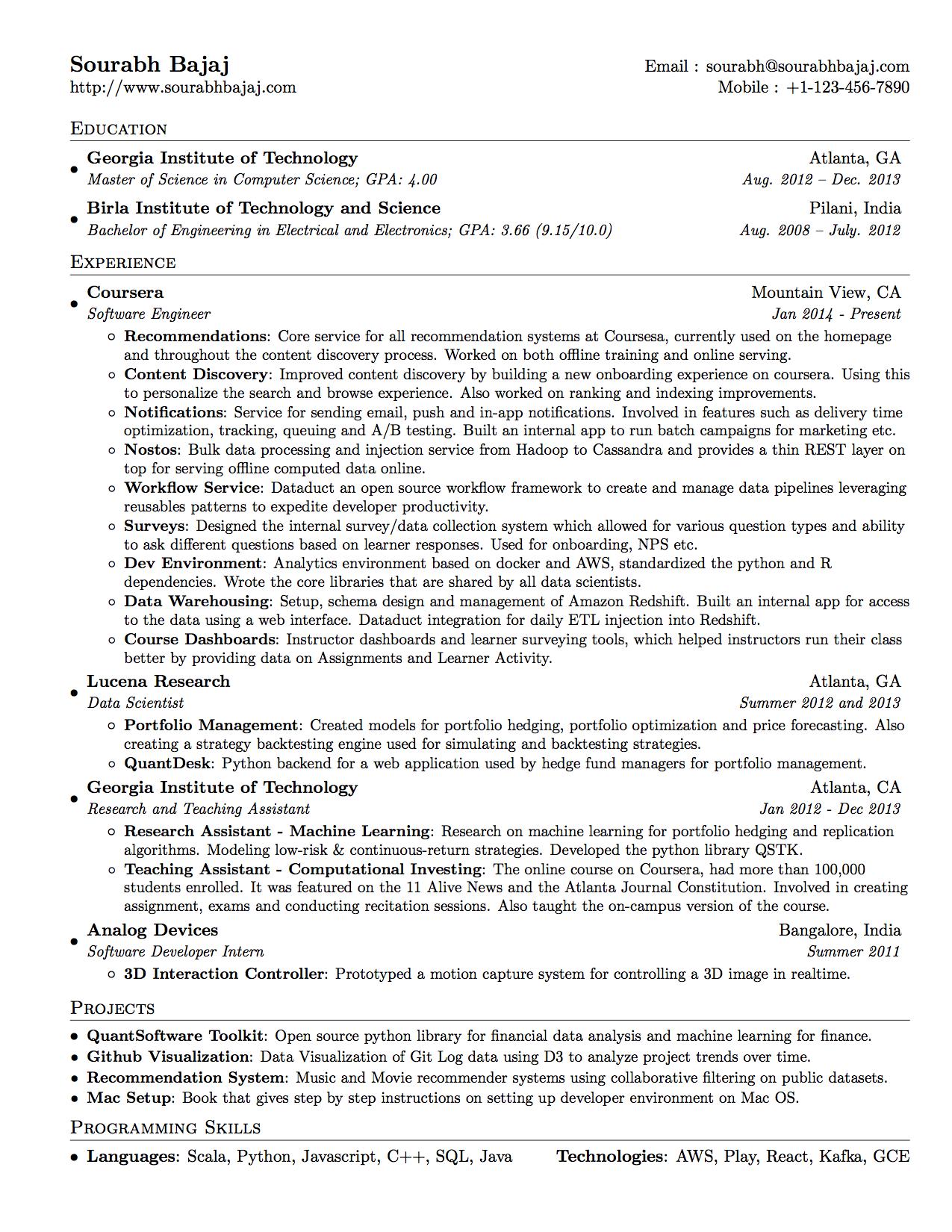 template curriculum vitae latex