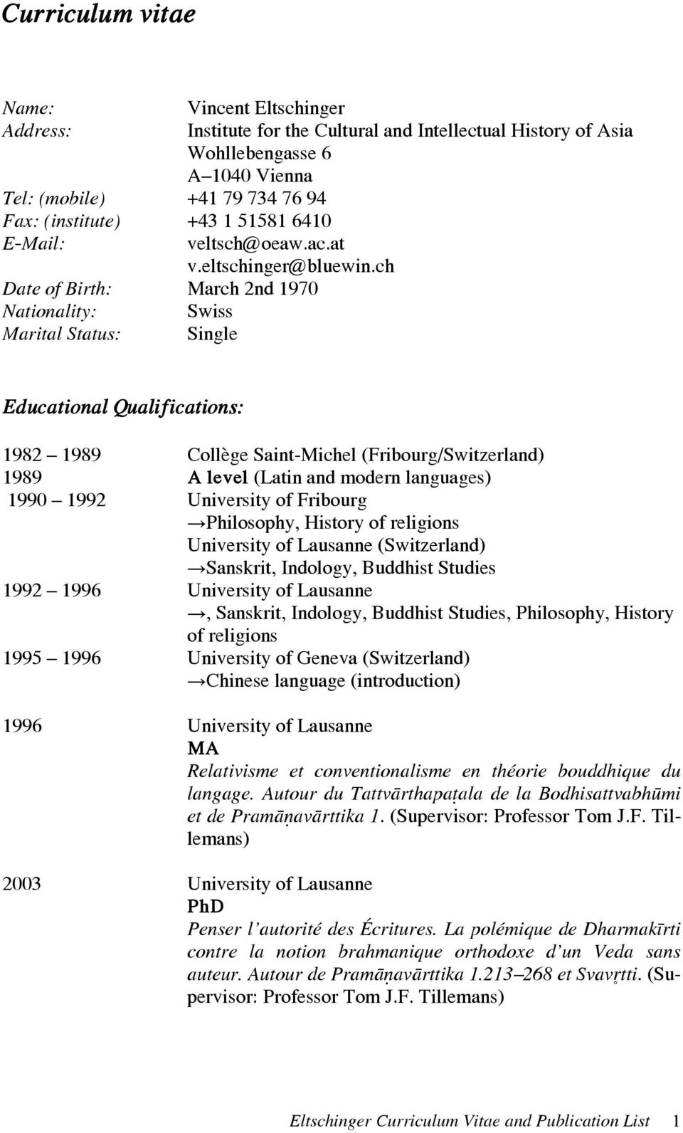 curriculum vitae profil