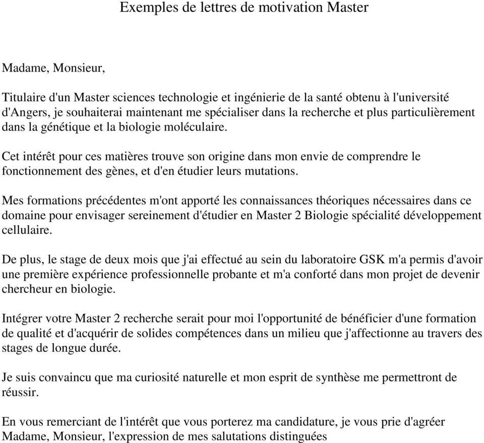 lettre de motivation master controle de gestion