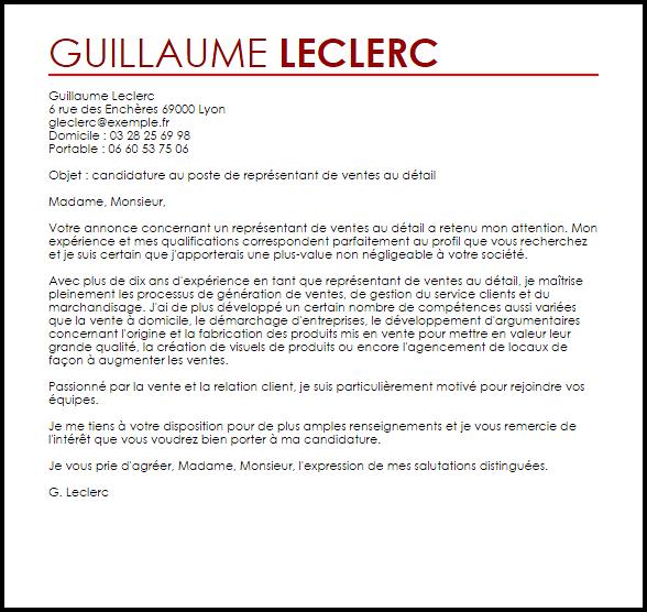 lettre de motivation pour conseiller de vente