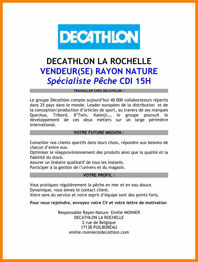lettre de motivation stage decathlon