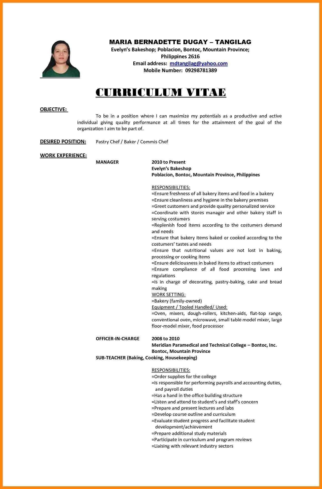 curriculum vitae paramedical