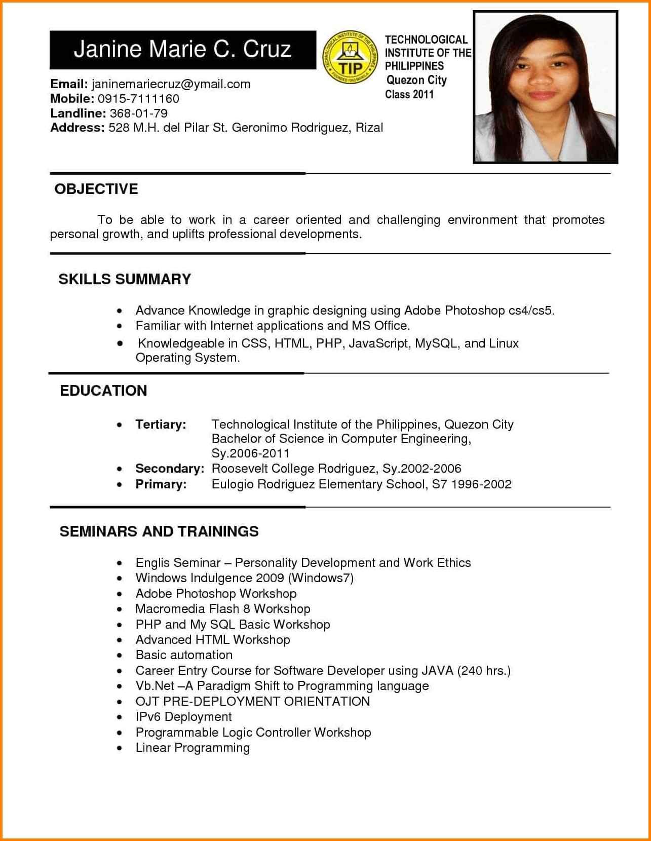 employment curriculum vitae sample