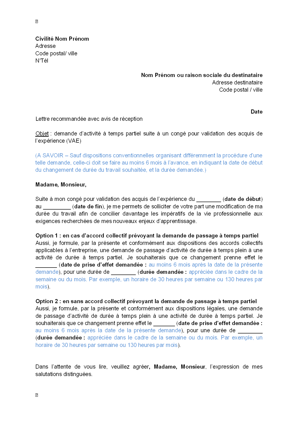lettre de motivation vae