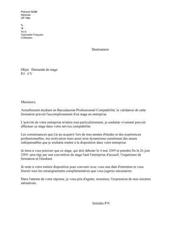lettre de motivation stage 2nd bac pro eleec