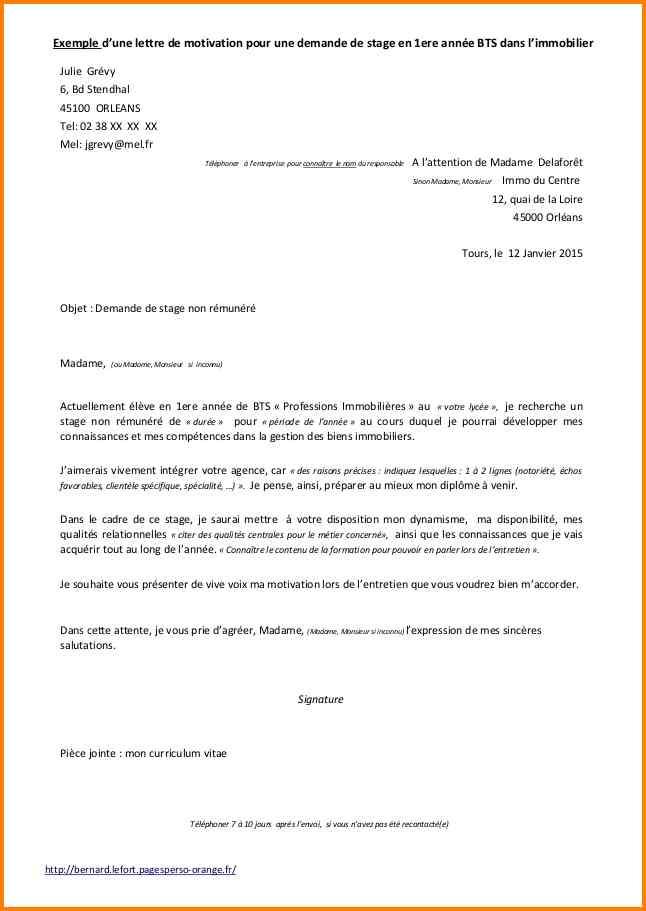 lettre de motivation pour stage d immersion en entreprise