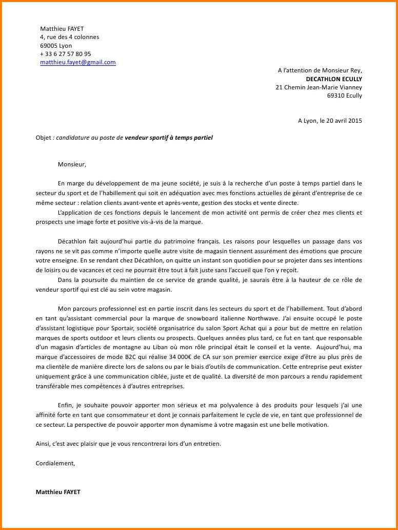 lettre de motivation job d u0026 39  u00e9t u00e9 magasin de sport