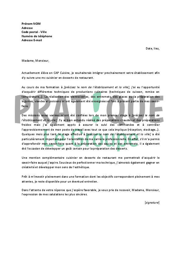 lettre de motivation emploi patissier