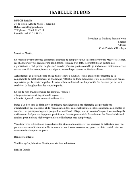 lettre de motivation chambre de commerce