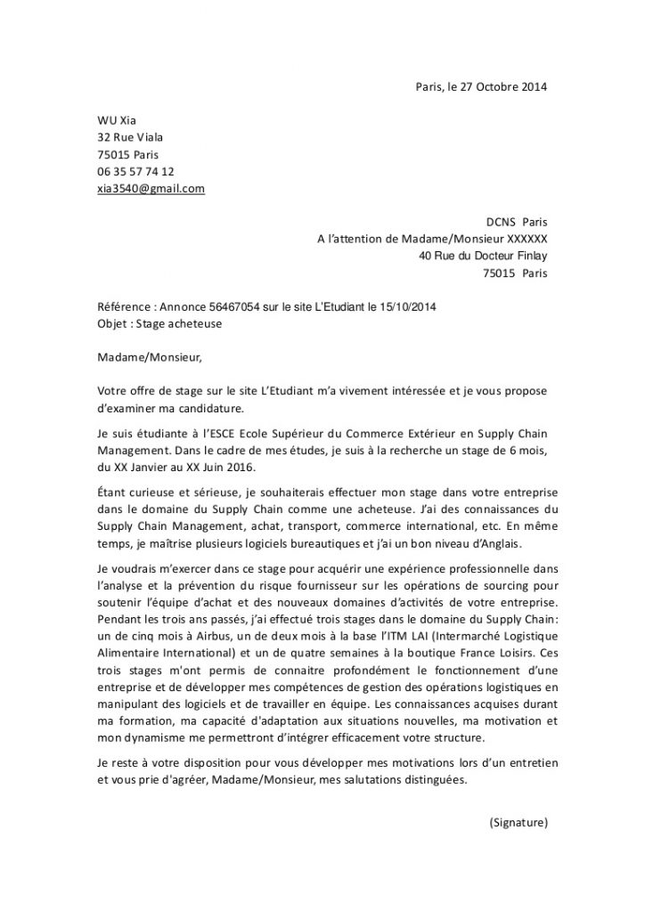 lettre de motivation emploi saisonnier intermarch u00e9