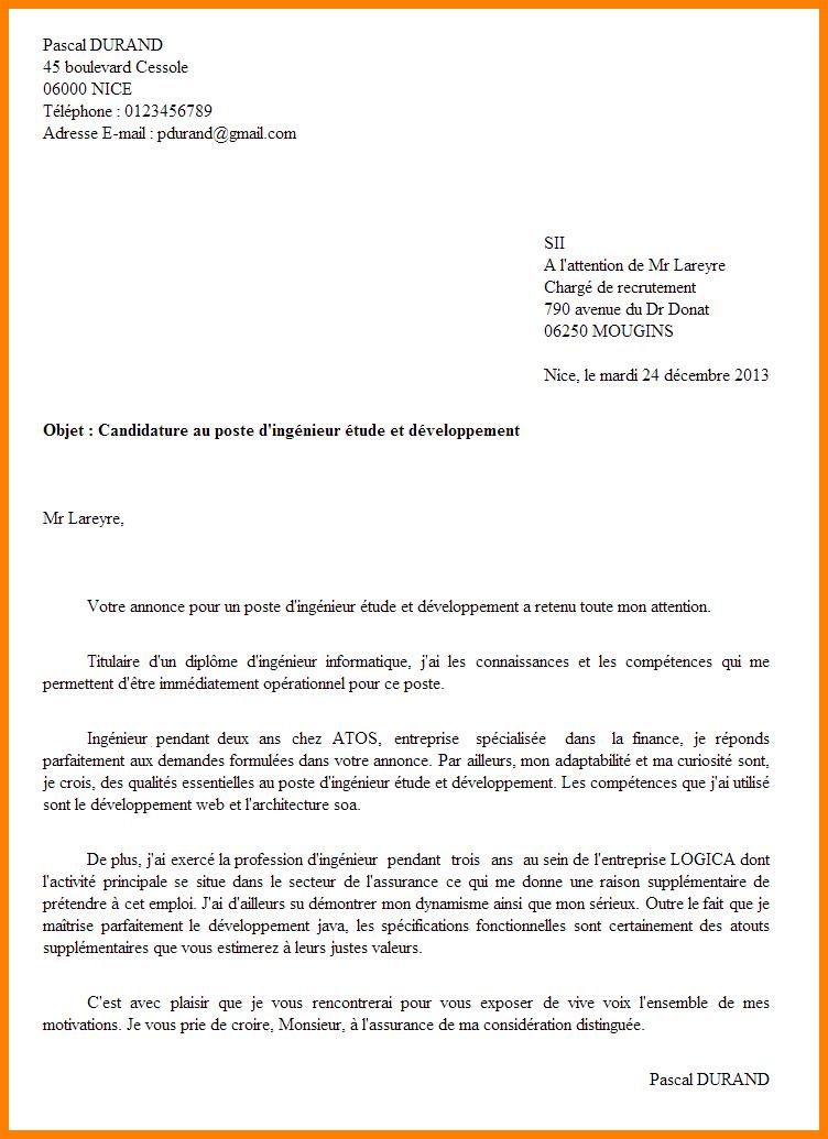 lettre de motivation candidature interne exemple