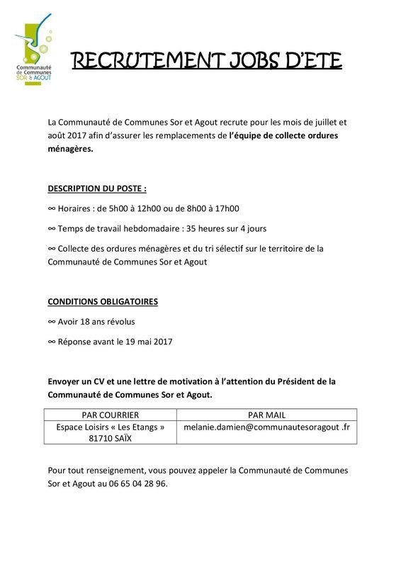 lettre de motivation job d u0026 39 ete mairie