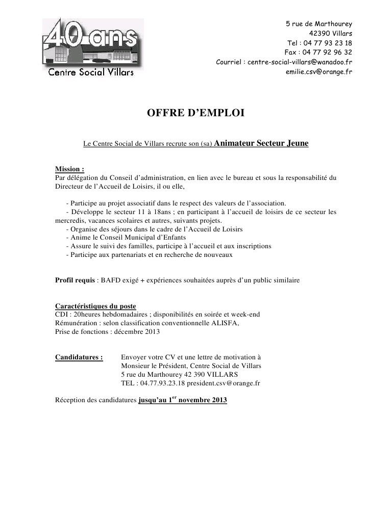 lettre de motivation pour job vacances scolaires
