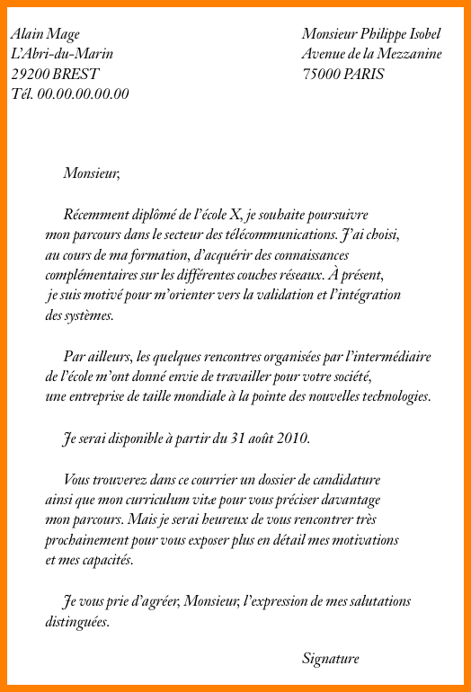 lettre de motivation ing u00e9nieur exemple