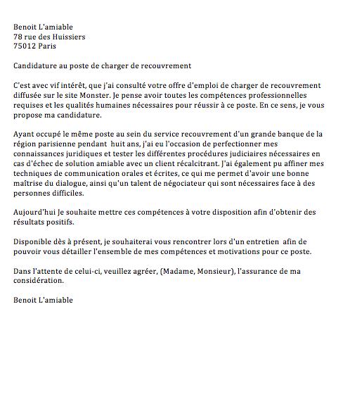 lettre de motivation candidature spontan u00e9e gestionnaire
