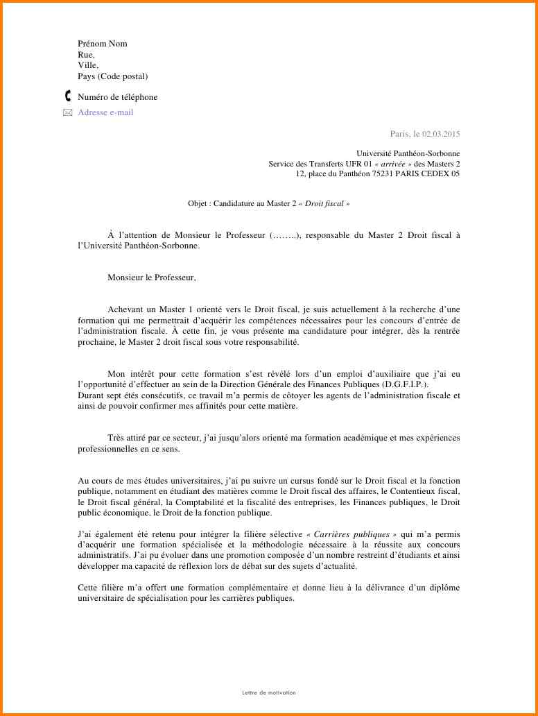 lettre de motivation stage psychologie master 1
