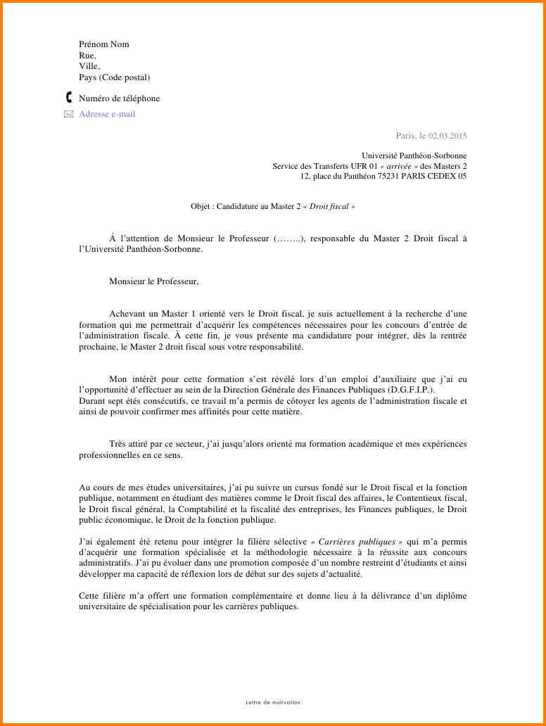lettre de motivation stage psychologie master 1